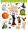 Halloween 3d icons Pumpkin ghost spider witch vector image vector image