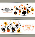 Halloween banners set on white background vector image vector image