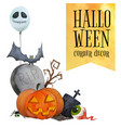 halloween corner decor for cards and posters vector image vector image