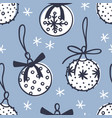 hand drawn christmas seamless pattern with toy vector image