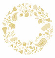 hand drawn round frame with cute flowers vector image vector image