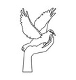 hand holding dove flying international day of vector image