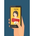 Hand holding mobile calling girlfriend Mobile vector image vector image