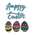 happy easter colorful lettering with egs vector image