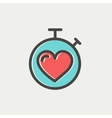 Heart time thin line icon vector image