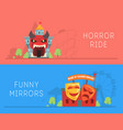 horror ride and house of crooked mirrors banners vector image vector image