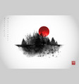 ink wash painting with big red sun and black wild vector image vector image