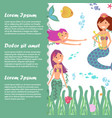 kids banner template with fish fairy mermaids vector image