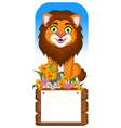 lion cartoon posing with blank sign vector image vector image