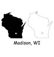 madison wisconsin wi state border usa map vector image vector image