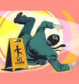 man falls on wet floor warning sign stock vector image vector image