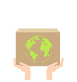 one hand giving box to other isometric vector image vector image