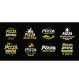 pizza set icons labels symbols signs vector image vector image