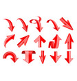 red arrows set 3d web up and down icons vector image vector image