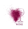 red wine glass with grape vector image vector image