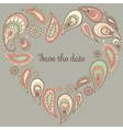 save date card with paisley frame vector image