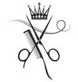 scissors comb and crown symbol vector image vector image