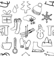 seamless sketch winter pattern vector image vector image