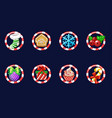 set christmas icons new year decoration vector image vector image