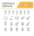 set editable stroke line icons microphone vector image
