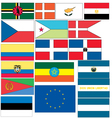 set of 18 flags of countries started with C D E vector image
