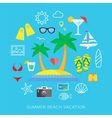 Summer vacation flat icon set vector image vector image