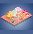 tea day concept banner isometric style vector image