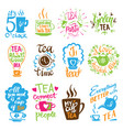 teatime quote set lettering cup of tea vector image vector image