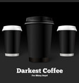 template coffee cups on black background vector image