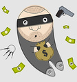 Thief with bag full of money vector image vector image