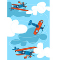 Vintage air planes flying in the sky vector image vector image