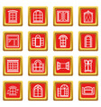 window design icons set red square vector image vector image