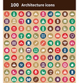 100 architecture icons vector image vector image