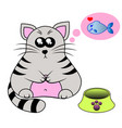 a cute smiling kitten behind a bowl with fish vector image