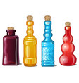 a set of notched glass colored bottles vector image vector image