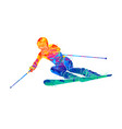 abstract skiing descent giant slalom skier from vector image