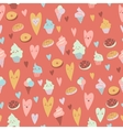 Beautiful seamless pattern of sweets on gray vector image