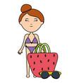 beautiful woman with handbag and sunglasses vector image