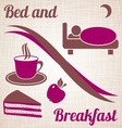 Bed and breakfast menu vector image