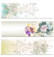 brochures set with abstract flowers vector image vector image