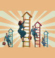 business team climbs up the stairs vector image vector image