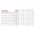 calendar planner 2020 template vector image