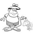 Cartoon man watering a flower with a garden hose