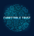 charitable trust round blue outline vector image vector image