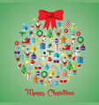christmas ball and new year icons vector image