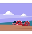 Classic Icelandic Landscape With Houses vector image vector image