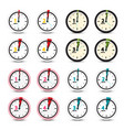 clock icons set vector image vector image