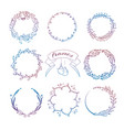 colorful hand drawn christmas wreath frames set vector image