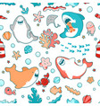 cute marine seamless pattern with kawaii sharks vector image vector image