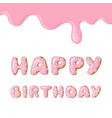 cute pink birthday card donut with pink glaze vector image